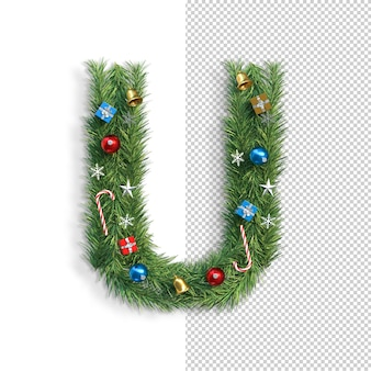 Noël, alphabet, lettre, u