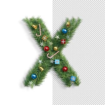 Noël, alphabet, lettre x