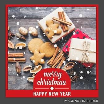 Noël et bonne année 2019, maquette de photo et modèle de message instagram pour social medi