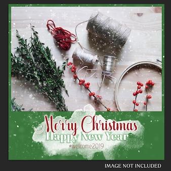 Noël et bonne année 2019 maquette de photo et modèle de publication instagram