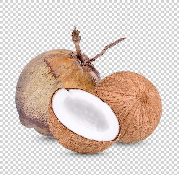Noix de coco mature isolée