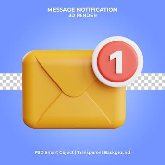 Notification de message rendu 3d isolé premium psd