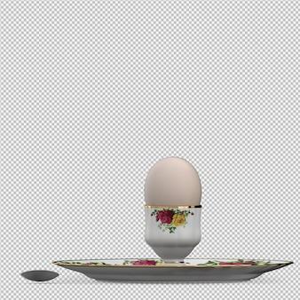 Nourriture isométrique sur plaque 3d rendu