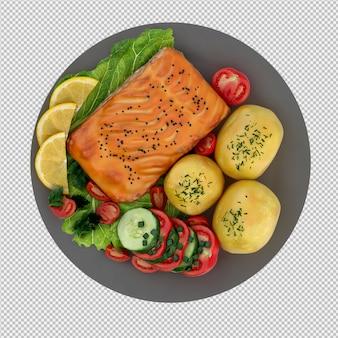Nourriture sur plaque rendu 3d