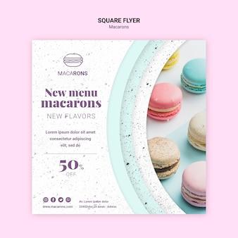 Nous aimons le modèle de flyer carré de menu de macarons