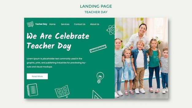 Nous célébrons la page de destination de la journée des enseignants