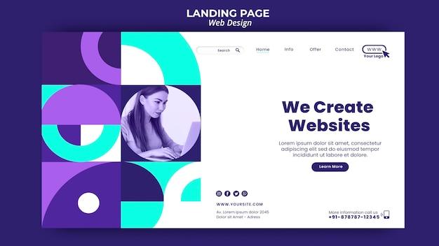 Nous créons un modèle de page de destination de sites web