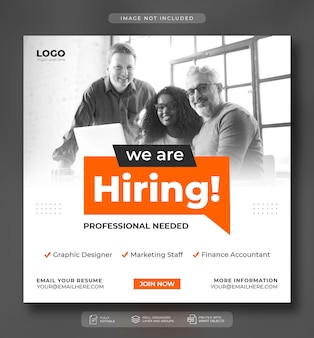 Nous embauchons un poste vacant sur les réseaux sociaux ou un modèle de bannière web