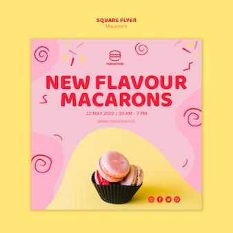 Nouveau dépliant carré de macarons de saveur