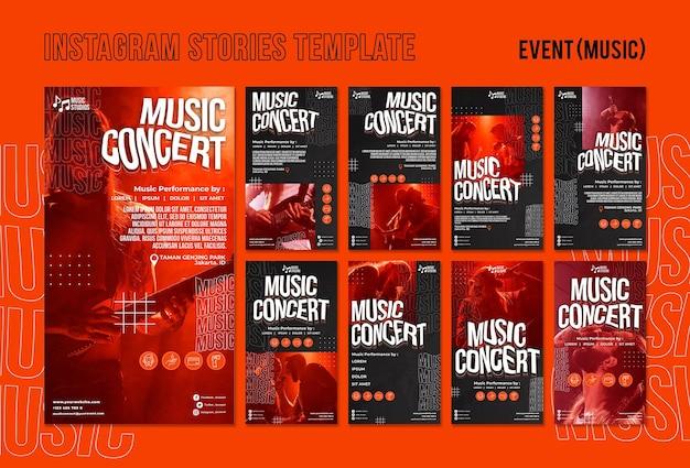 Nouveau modèle d'histoires instagram de concert de musique normal