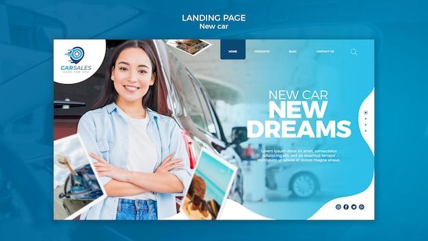 Nouveau modèle de page de destination de concept de voiture