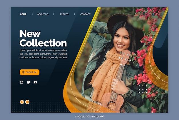 Nouveau site web de page de destination de collection avec modèle d'image