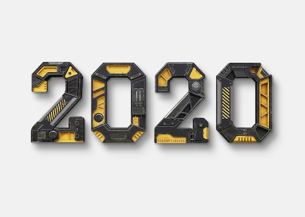 Nouvel an 2020 fabriqué à partir de l'alphabet robot