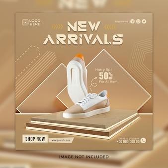 Nouvelle arrivée chaussures décontractées sosial media post & modèle de bannière web avec arrière-plan 3d