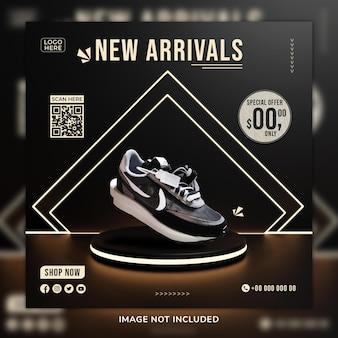 Nouvelle arrivée chaussures sosial media post & modèle de bannière web avec arrière-plan 3d