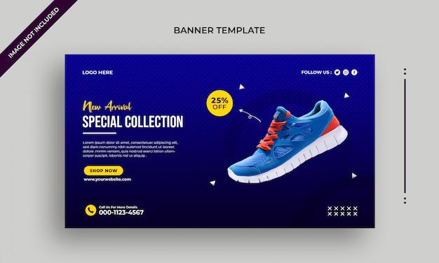 Nouvelle bannière web de chaussures d'arrivée