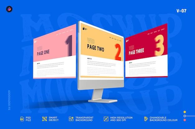 Nouvelle maquette d'écran d'ordinateur de bureau de vitrine web 3d moderne