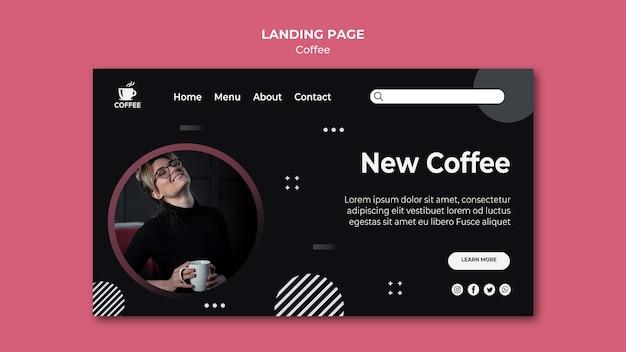 Nouvelle page de destination du concept de café