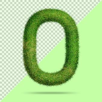 Numéro 0 avec de l'herbe 3d réaliste