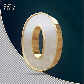 Numéro 0 rendu 3d de luxe doré