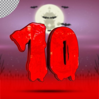 Numéro 10 3d d'halloween