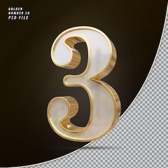 Numéro 3 3d luxe doré