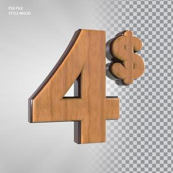 Numéro 3d de 4 dollars avec du bois de style