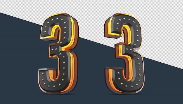 Numéro 3d Avec Décoration De Broche Et Effet Néon PSD Premium