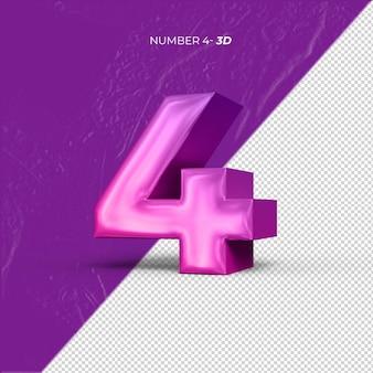 Numéro 4 rendu 3d fond transparent