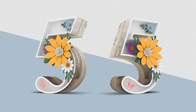 Numéro 5 en bois avec décoration florale colorée, rendu 3d