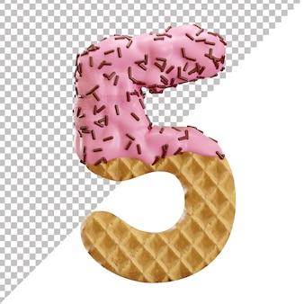Numéro 5 fait de gaufres à la crème glacée avec des pépites de chocolat dans un style 3d