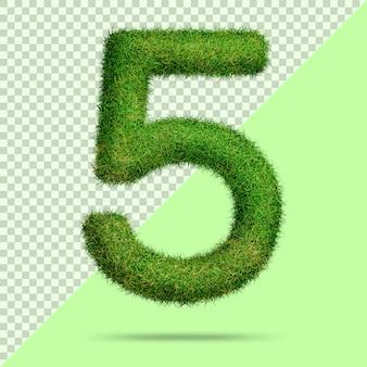 Numéro 5 avec de l'herbe 3d réaliste