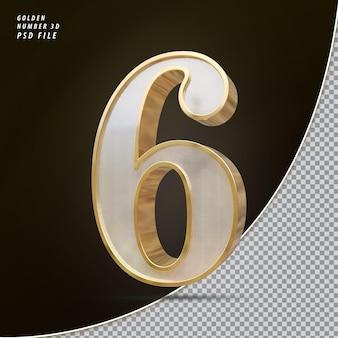 Numéro 6 3d luxe doré