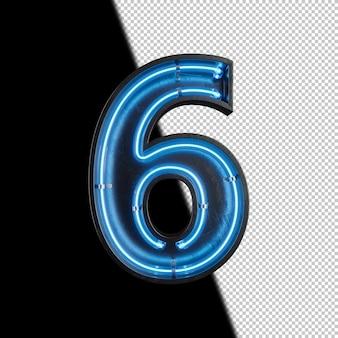 Numéro 6 fabriqué à partir de néon