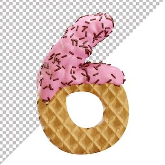 Numéro 6 fait de gaufres à la crème glacée avec des pépites de chocolat dans un style 3d