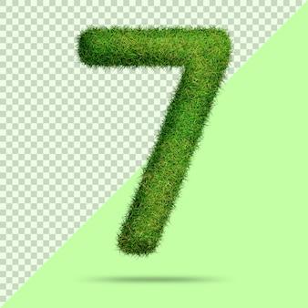 Numéro 7 avec de l'herbe 3d réaliste