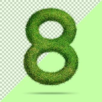 Numéro 8 avec de l'herbe 3d réaliste