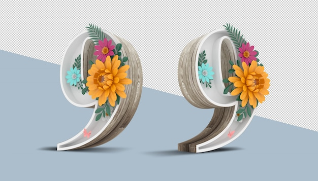 Numéro 9 en bois avec décoration florale colorée, rendu 3d