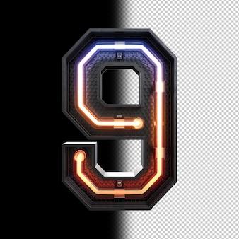 Numéro 9 fabriqué à partir de néon