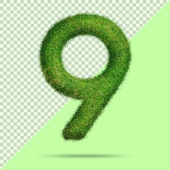 Numéro 9 avec de l'herbe 3d réaliste