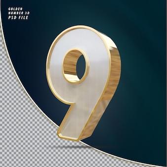 Numéro 9 rendu 3d de luxe doré