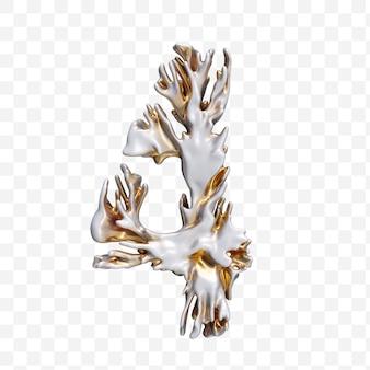 Numéro de l'alphabet 4 fait de corail moderne doré isolé