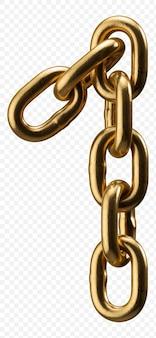 Numéro d'alphabet de chaîne d'or 1 isolé sur transparent, illustration 3d