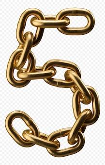 Numéro d'alphabet de chaîne d'or 5 isolé sur transparent, illustration 3d