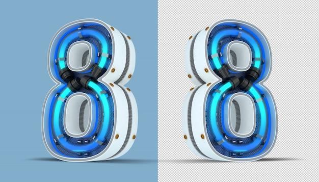 Numéro blanc néon illustration de rendu 3d