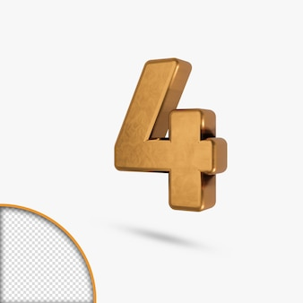 Numéro brillant métallique doré en rendu 3d