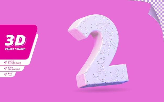 Numéro deux, numéro 2 en rendu 3d isolé avec illustration de conception abstraite topographique blanche texture ondulée