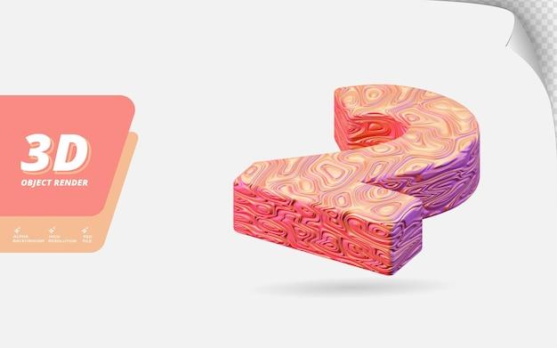 Numéro deux, numéro 2 en rendu 3d isolé avec illustration de conception abstraite topographique en or rose texture ondulée