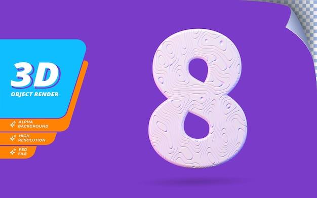 Numéro huit, numéro 8 en rendu 3d isolé avec illustration de conception abstraite topographique blanche texture ondulée