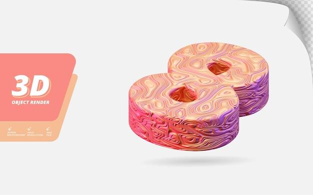 Numéro huit, numéro 8 en rendu 3d isolé avec illustration de conception abstraite topographique en or rose texture ondulée